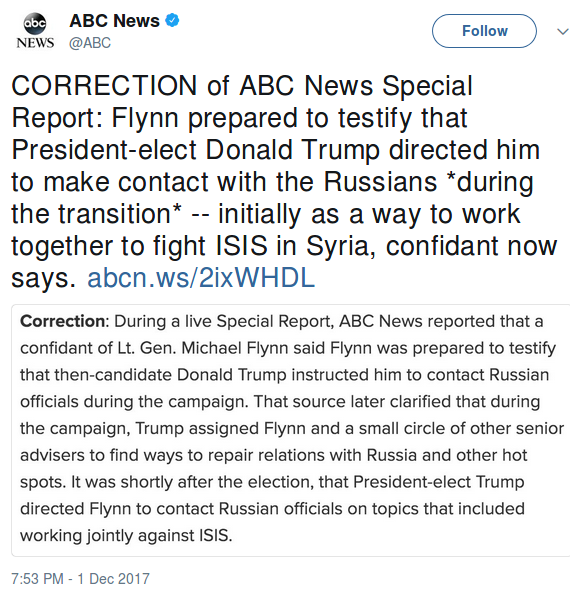 ABC News issued a correction on Brian Ross's report