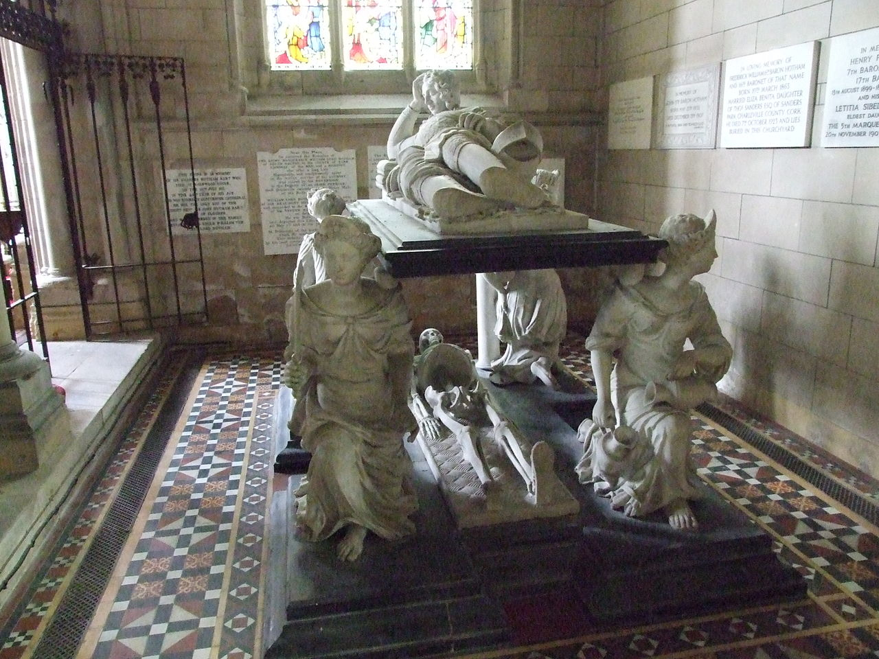 The Tomb of Sir John Hotham, supported by figures of the cardinal virtues.