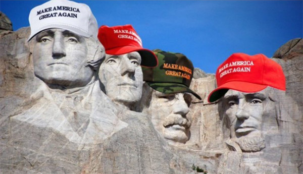 Mount Rushmore and MAGA hats