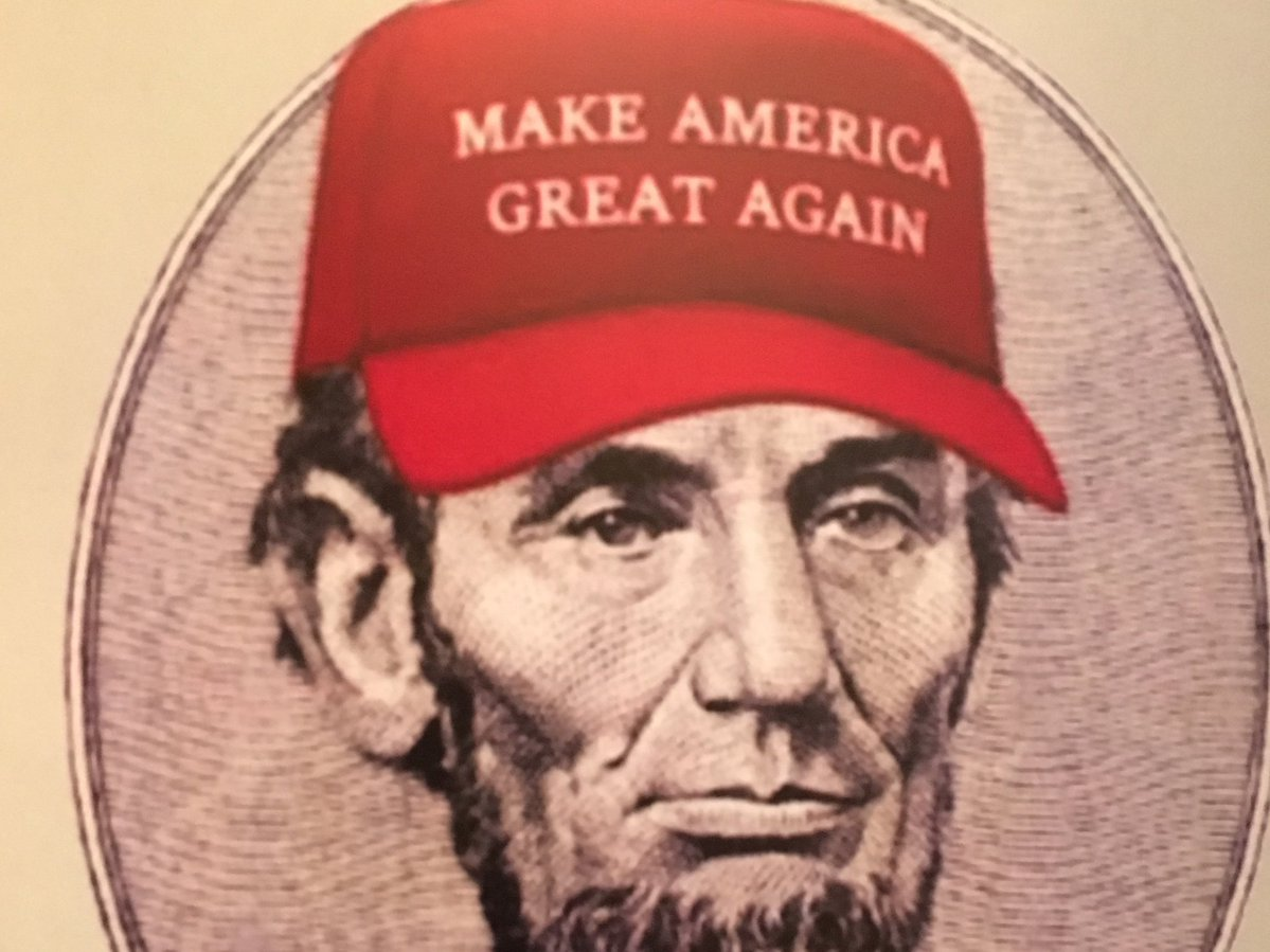 Lincoln wears Make America Great Again hat