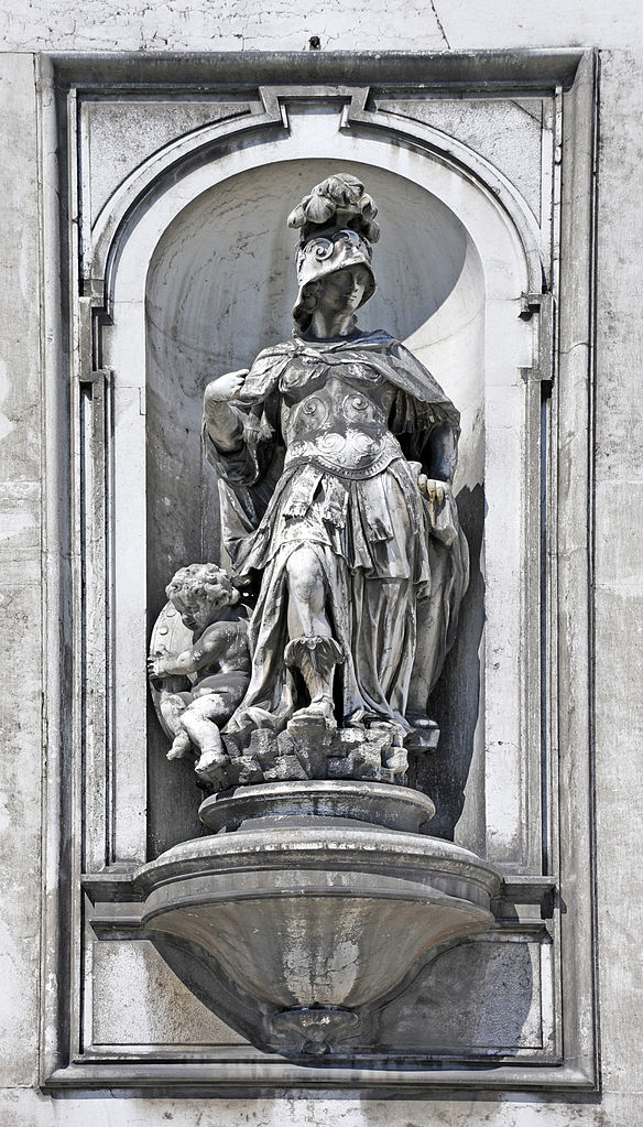 Statue of allegory of Fortitude on the facade of the church of Santa Maria del Rosario (Venice)