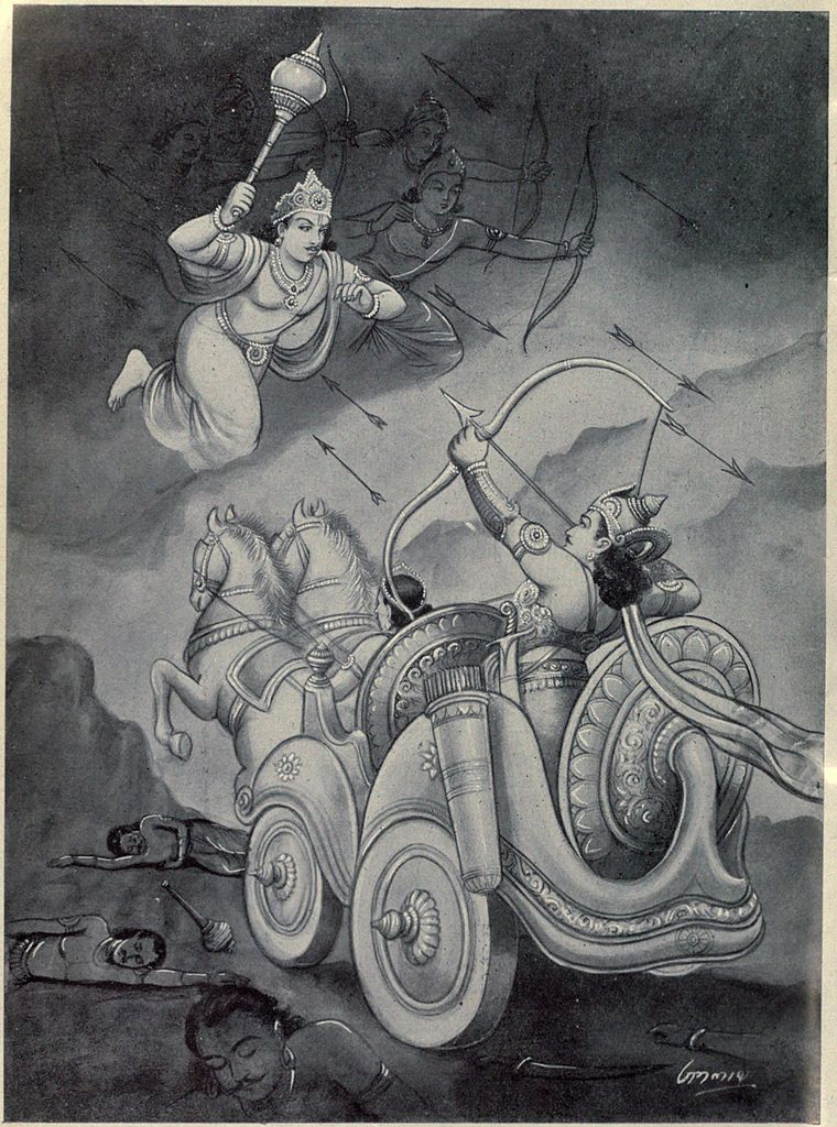 Chitrasena fights with Arjuna.