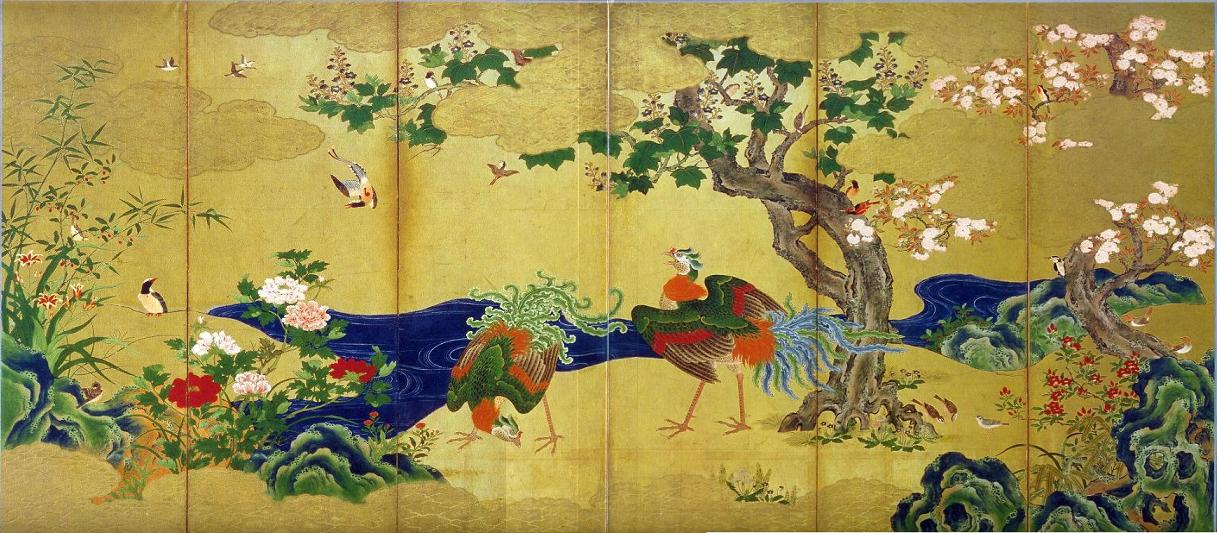 Flowers and Birds of the Four Seasons, Phoenix birds by  Kanō Eitoku