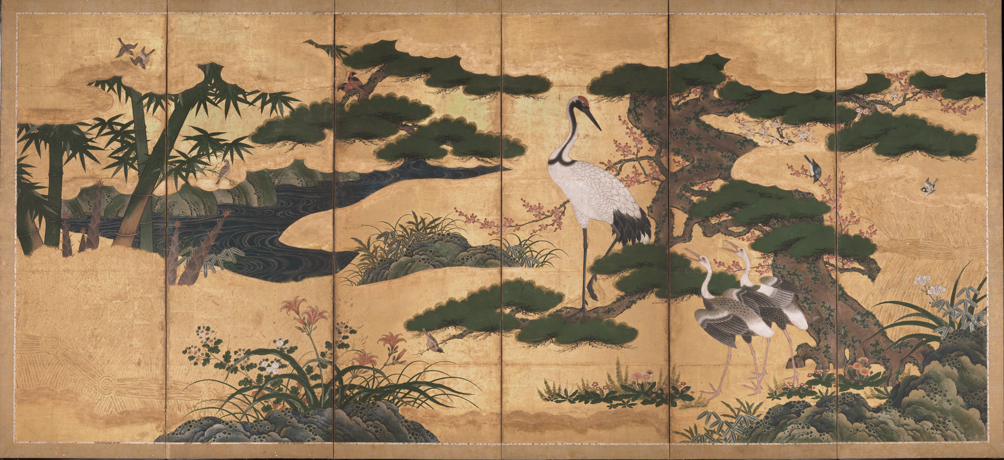 Flowers and Birds of the Four Seasons by  Kanō Eitoku