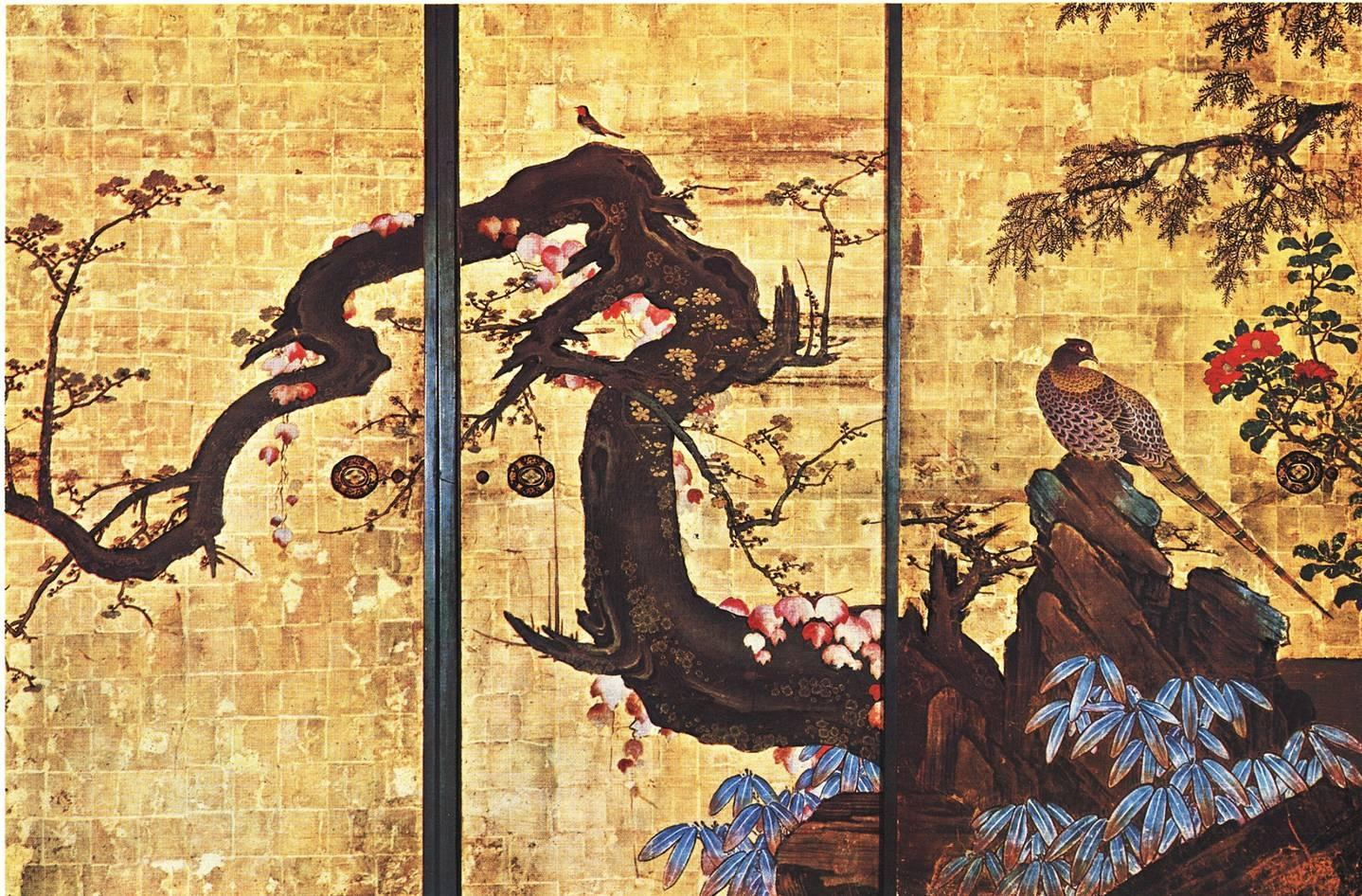 Frolicking Birds in Plum and Willow Trees  by Kanō Sansetsu