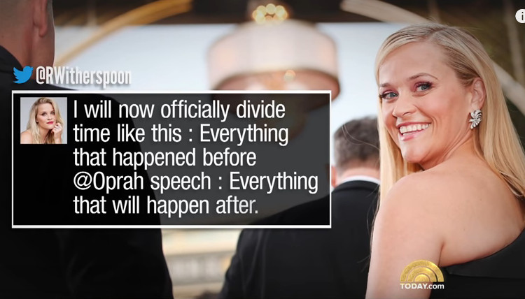 Reese Witherspoon's reaction to Oprah Winfrey's speech