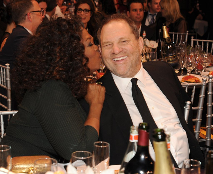 Oprah Winfrey kisses Harvey Weinstein