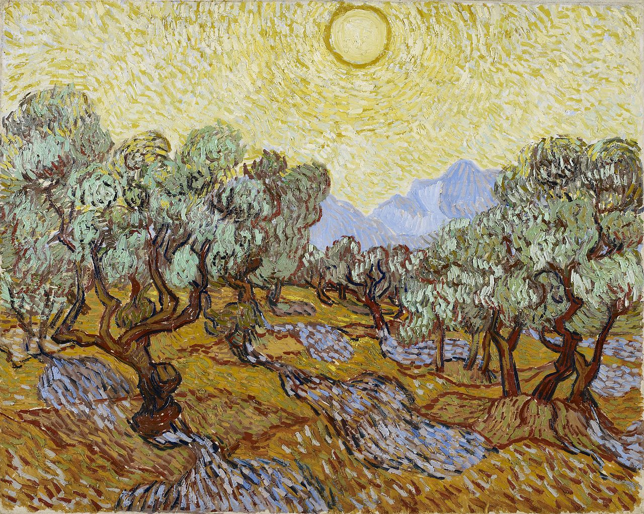 Van Gogh's Olive Trees with the Alpilles in the Background