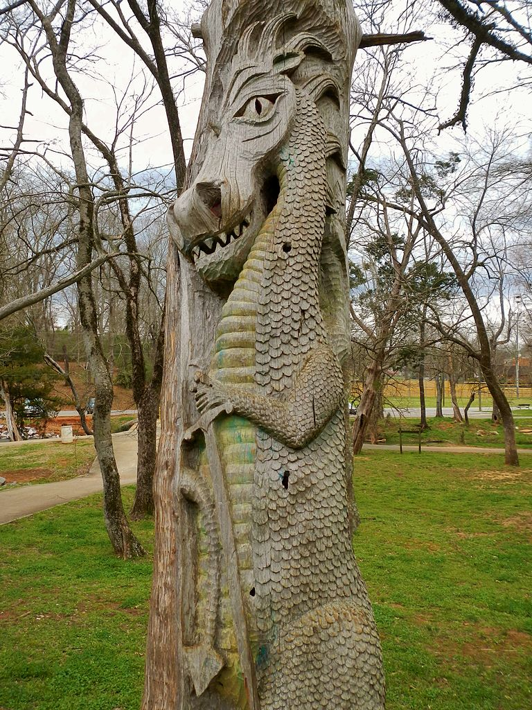 A wood carving by Tim Tingle in Orr Park in Montevallo, Alabama
