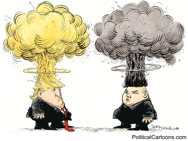 TRUMP AND KIM MUSHROOM HEADS