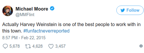 Michael Moore loves Harvey Weinstein