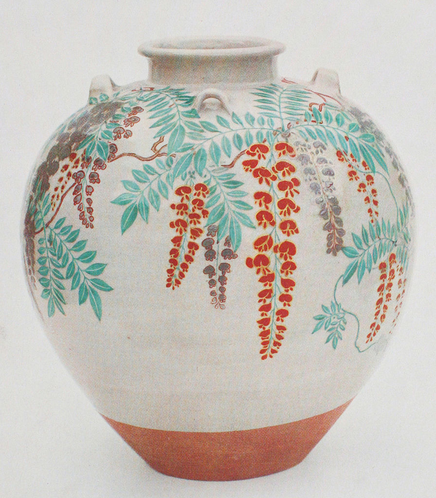 Tea-leaf jar with a design of wisteria