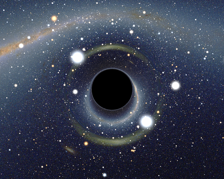 Simulated view of a black hole (center) in front of the Large Magellanic Cloud.