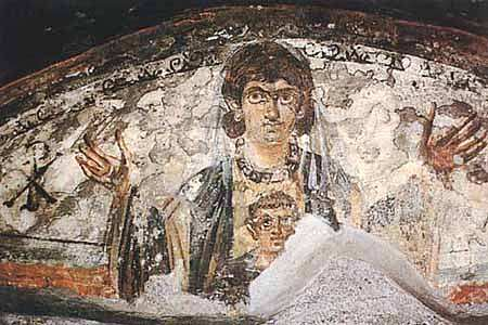 Virgin and Child - Wall painting from the Roman catacombs (early Christian catacomb).