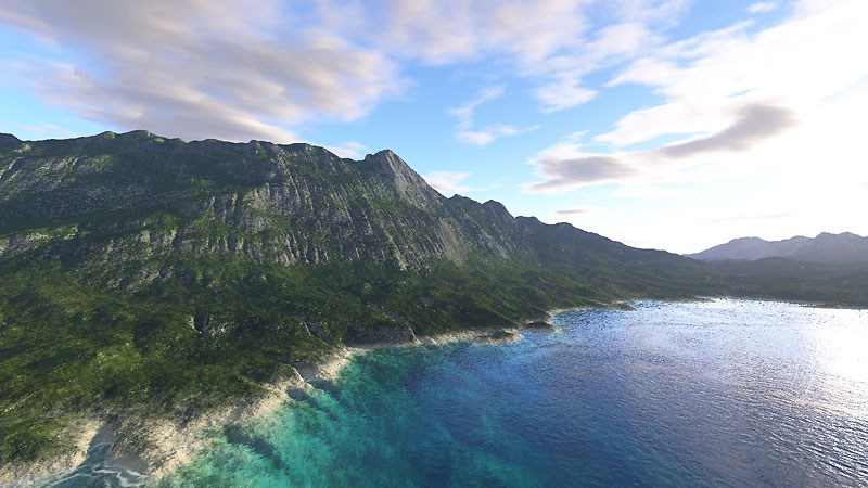 A photorealistic landscape created with Terragen