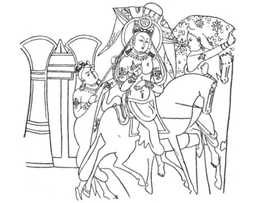 King Ajatashatru Rides Out of the City with Varshakara (Illustration after Griinwedel)