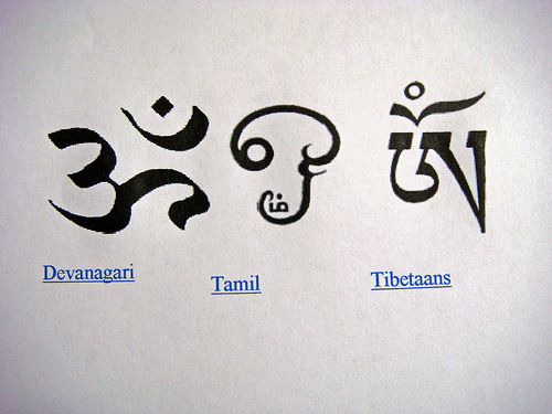 AUM symbol in Devenagari, Tamil and Tibetan script