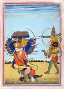 #7b: Rama and Hanuman fighting Ravana