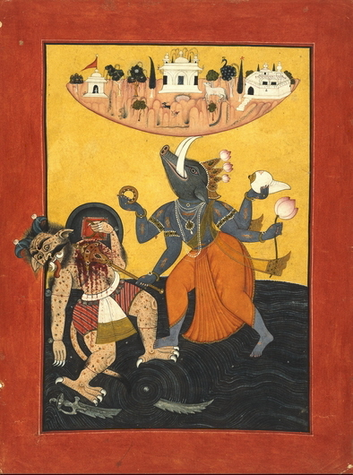 #3a: Varaha avatar of Vishnu, killing a demon