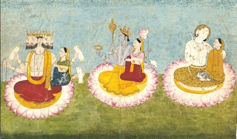 Brahma, Vishnu and Shiva seated on lotuses with their consorts