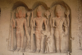 #2: Statues of Brahm, Vishnu and Shiva at Ellora Caves