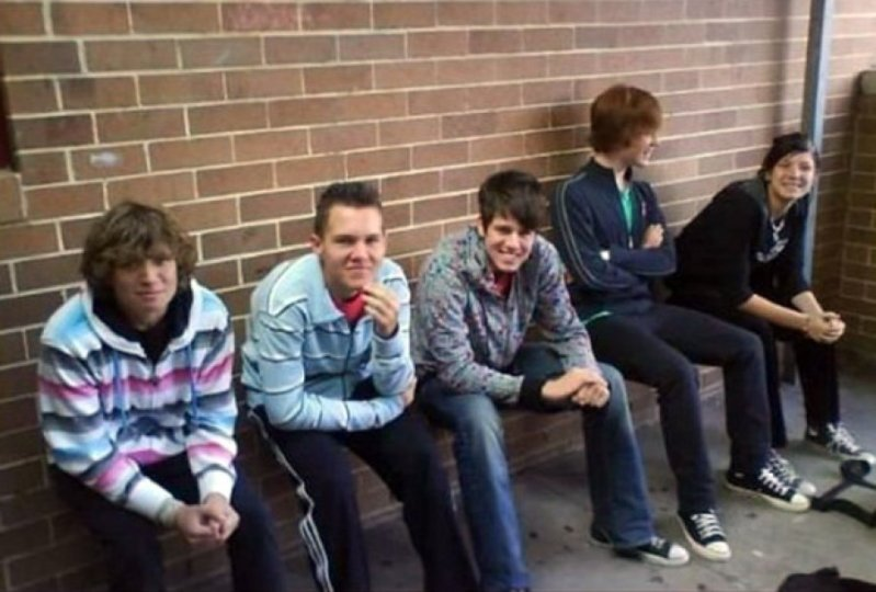 Five men sitting on a bench illusion