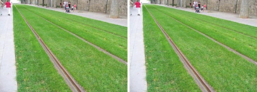 Leaning tower illusion: Identical images of tram lines