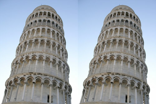 Leaning tower illusion: Tower of Pisa