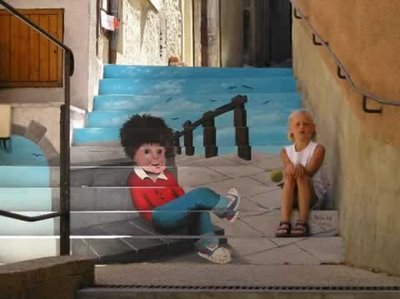 3d illusion: A staircase with a great 3d illusion of a boy sitting.