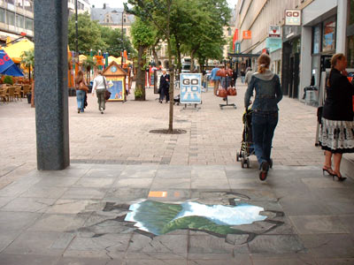 3D street art: Pavement Painting of Manfred Stader