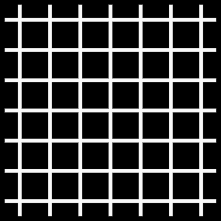 Hermann grid illusion: Illusion of gray dots at the intersections