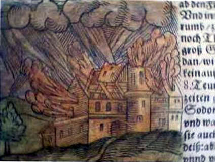 The destruction of Sodom as illustrated by Sebastian Münster
