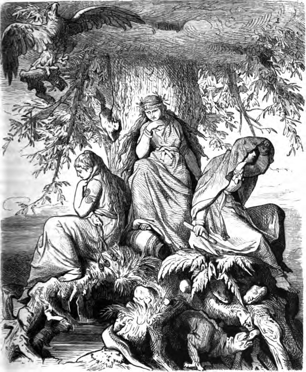The norns Urðr, Verðandi, and Skuld beneath the world tree Yggdrasil (1882) by Ludwig Burger.