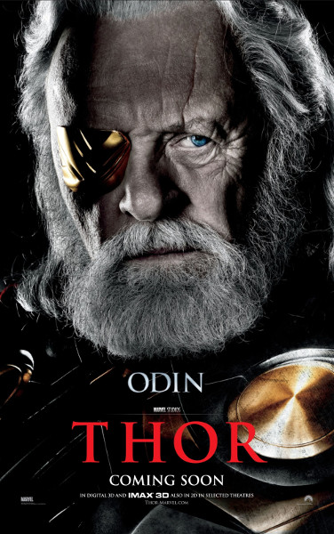 Promotional image of Anthony Hopkins as Odin in the Marvel Studios film, Thor.
