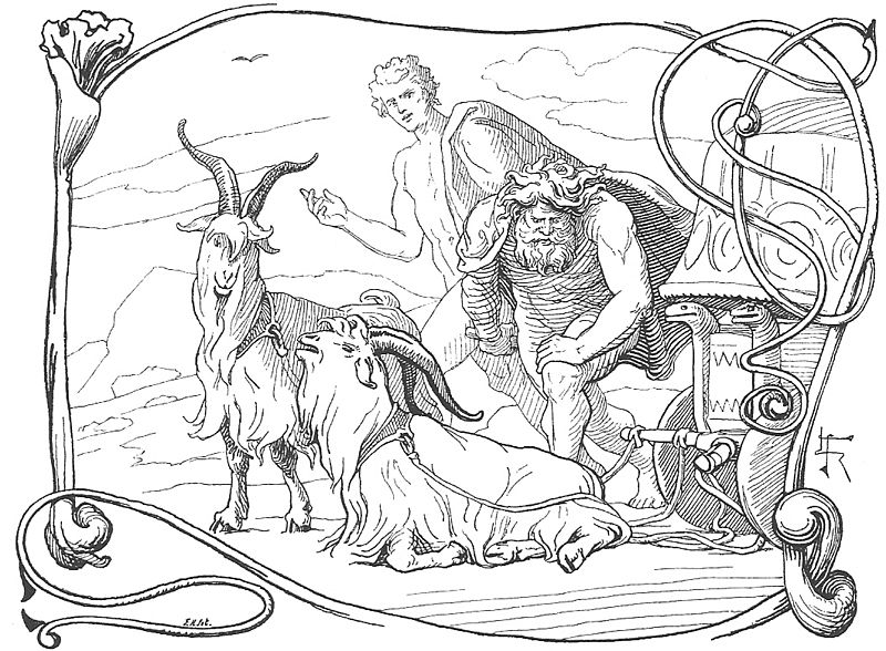 Týr looks on as Thor discovers that one of his goats is lame, by Frølich (1895)