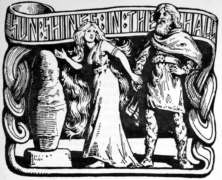 Sun Shines in the Hall (1908) by W.G. Collingwood: Thor clasps his daughter's hand and chuckles at the