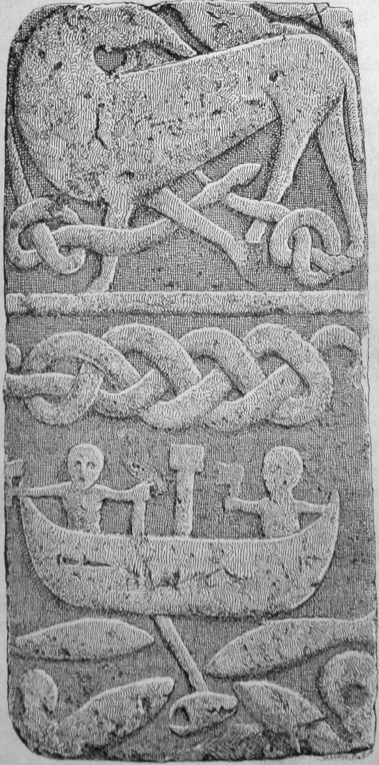 The Gosforth depiction, one of four stones depicting Thor's fishing trip