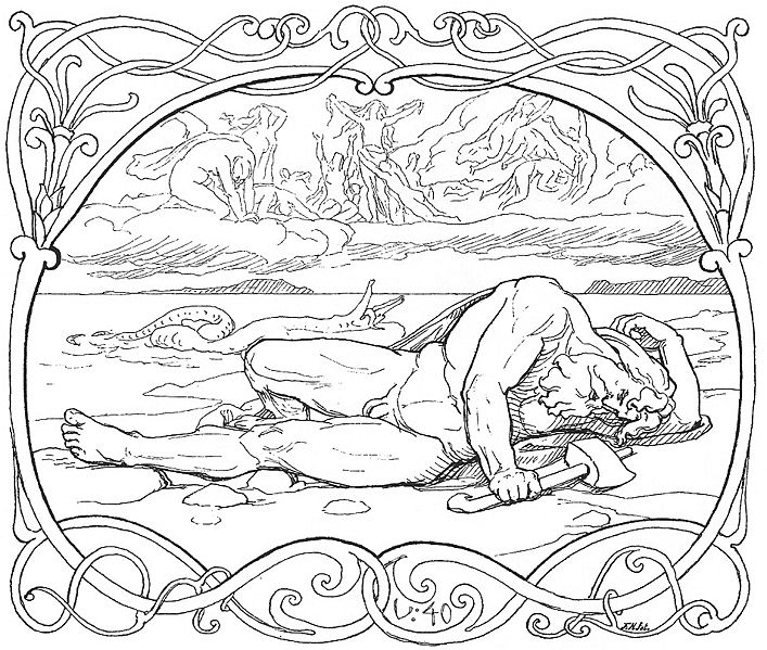 The foretold death of Thor as depicted by Lorenz Frølich (1895)
