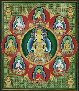 A Japanese mandala of the Five Dhyani Buddhas