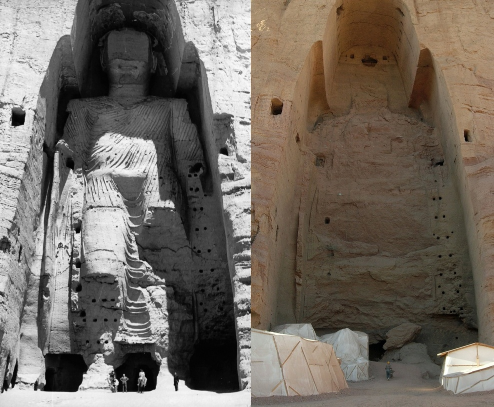 Buddhas of Bamyan, before and after destruction
