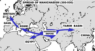 The spread of Manichaeism (300-500 CE).