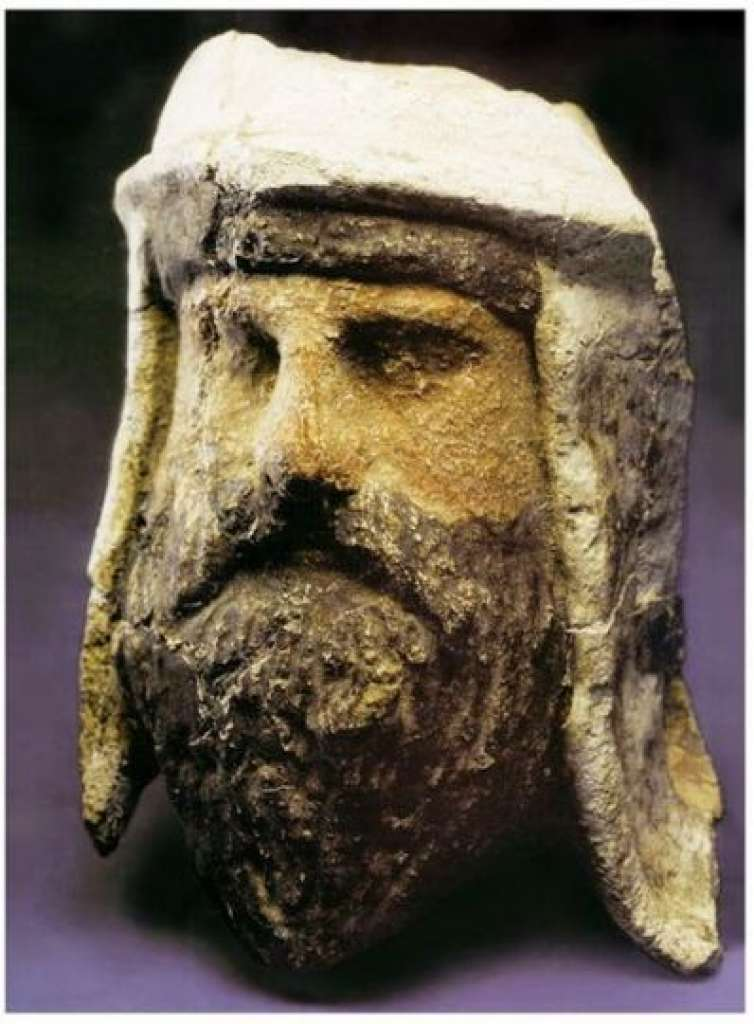 Painted clay and alabaster head of a Zoroastrian priest