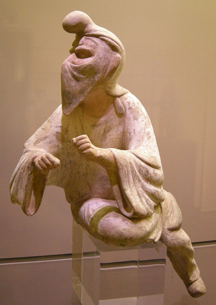 An 8th-century Tang dynasty Chinese clay figurine of a Sogdian man (an Eastern Iranian person)