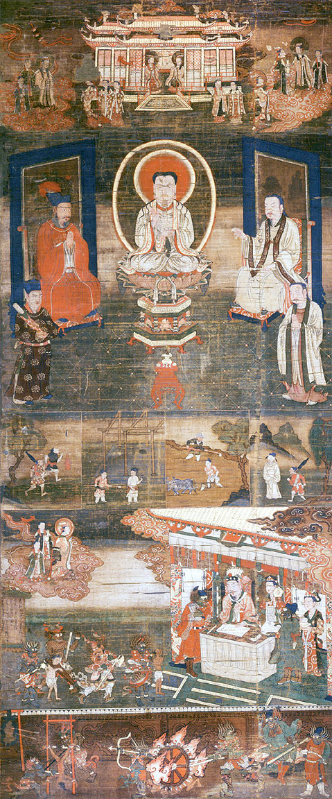 Manichaean silk painting - 'Sermon on Mani's Teaching of Salvation'