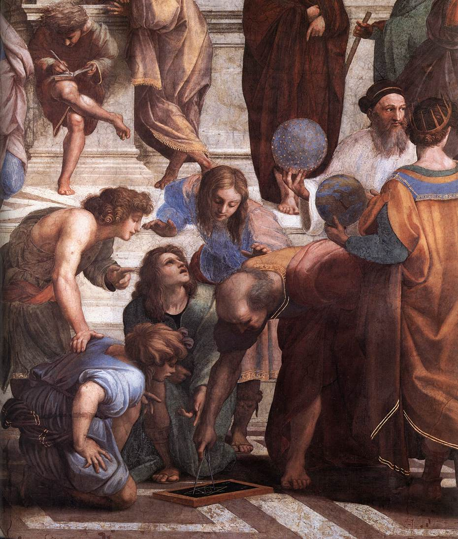 Zoroaster holds the celestial sphere in Raphael's School of Athens