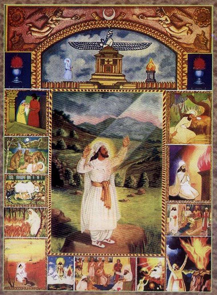 Zoroastrian devotional art depicts the religion's founder with white clothing and a long beard