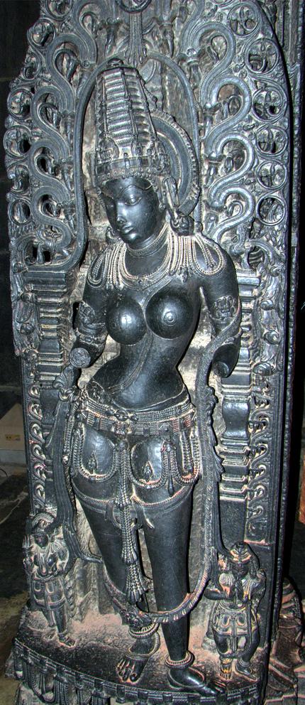 Mohini, the only female avatar of Vishnu (statue in a Belur temple, Karnataka, India)
