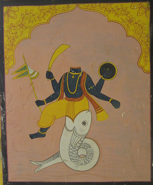 A mural of Ketu. Depicted as the body without head, from Jawahar Kala Kendra, Jaipur
