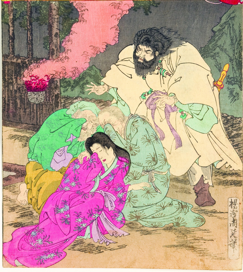 Susanoo encountered a grieving Ashinazuchi, his wife, and his daughter Kushinada-hime