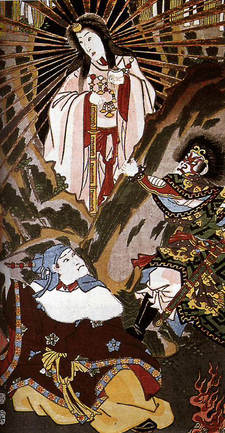 Amaterasu emerging from the cave holding a magatama necklace and a sword